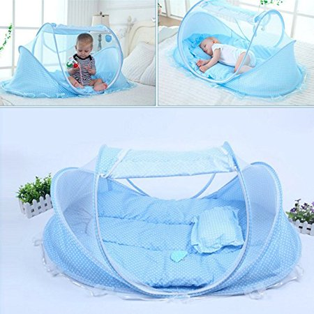 Meigar Kidstime Baby Travel Bed Baby Bed Portable Folding Baby Crib Mosquito Net Portable Baby Cots Newborn Foldable Crib Blue Color
