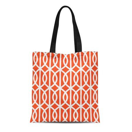 SIDONKU Canvas Tote Bag Garden Orange Twist Trellis Pattern Patio Modern White Lattice Reusable Handbag Shoulder Grocery Shopping Bags
