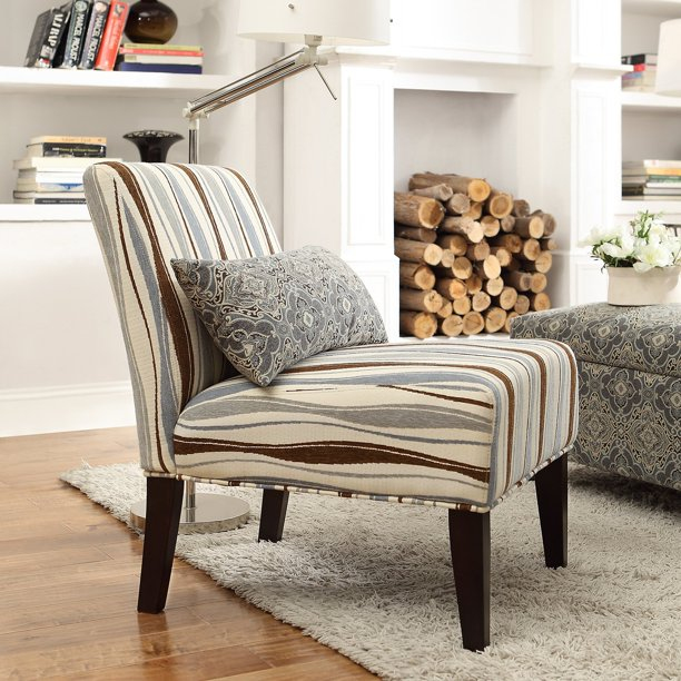 Weston Home Wavy Striped Fabric Lounger Chair - Rich Espresso