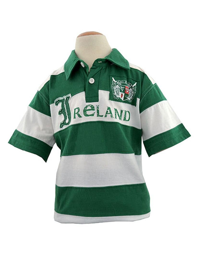 Green/White Ireland Striped Kids Polo