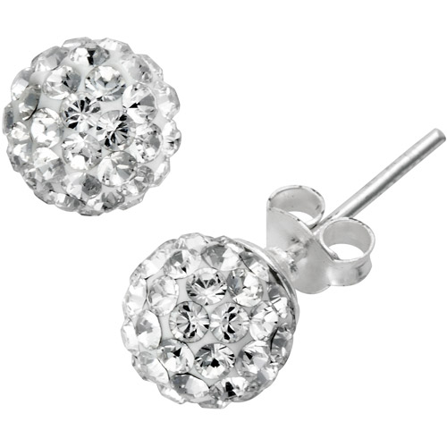 Crystal Accent Sterling Silver Ball Earrings