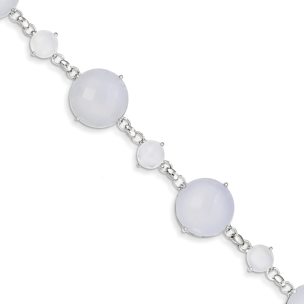 Sterling Silver Blue Chalcedony Circle Bracelet Gem Wt- 39.5ct by Jewelrypot