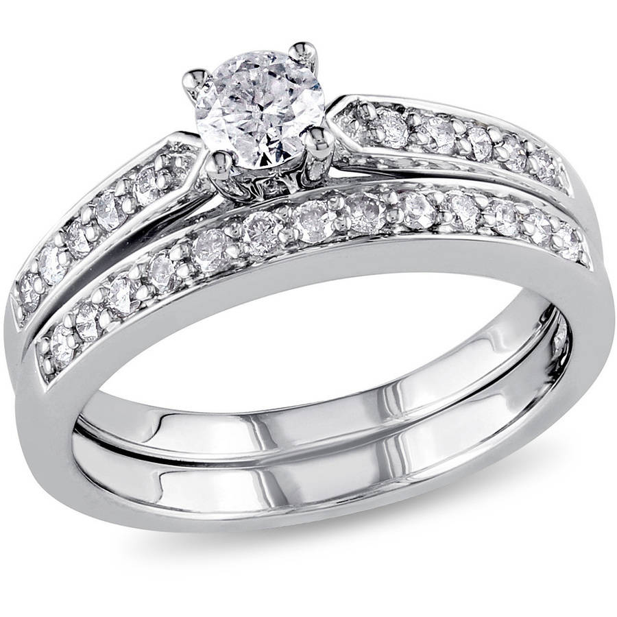 3.3 Carat T.G.W. CZ 14kt Gold Plated Wedding Ring Set   Walmart.com
