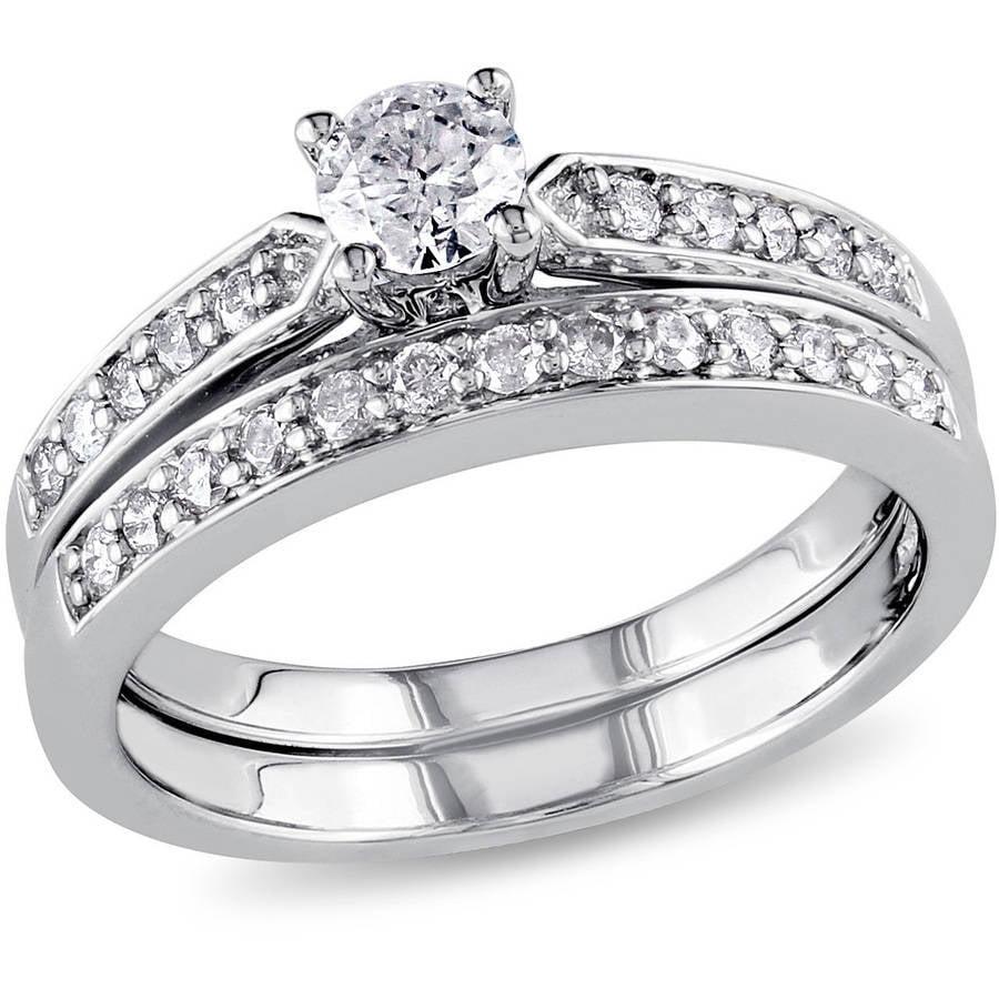 Miabella 1/2 Carat T.W. Diamond Sterling Silver Bridal Ring Set