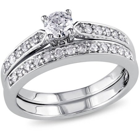 1/2 Carat T.W. Diamond Sterling Silver Bridal Ring Set Bridal Set Silver Ring