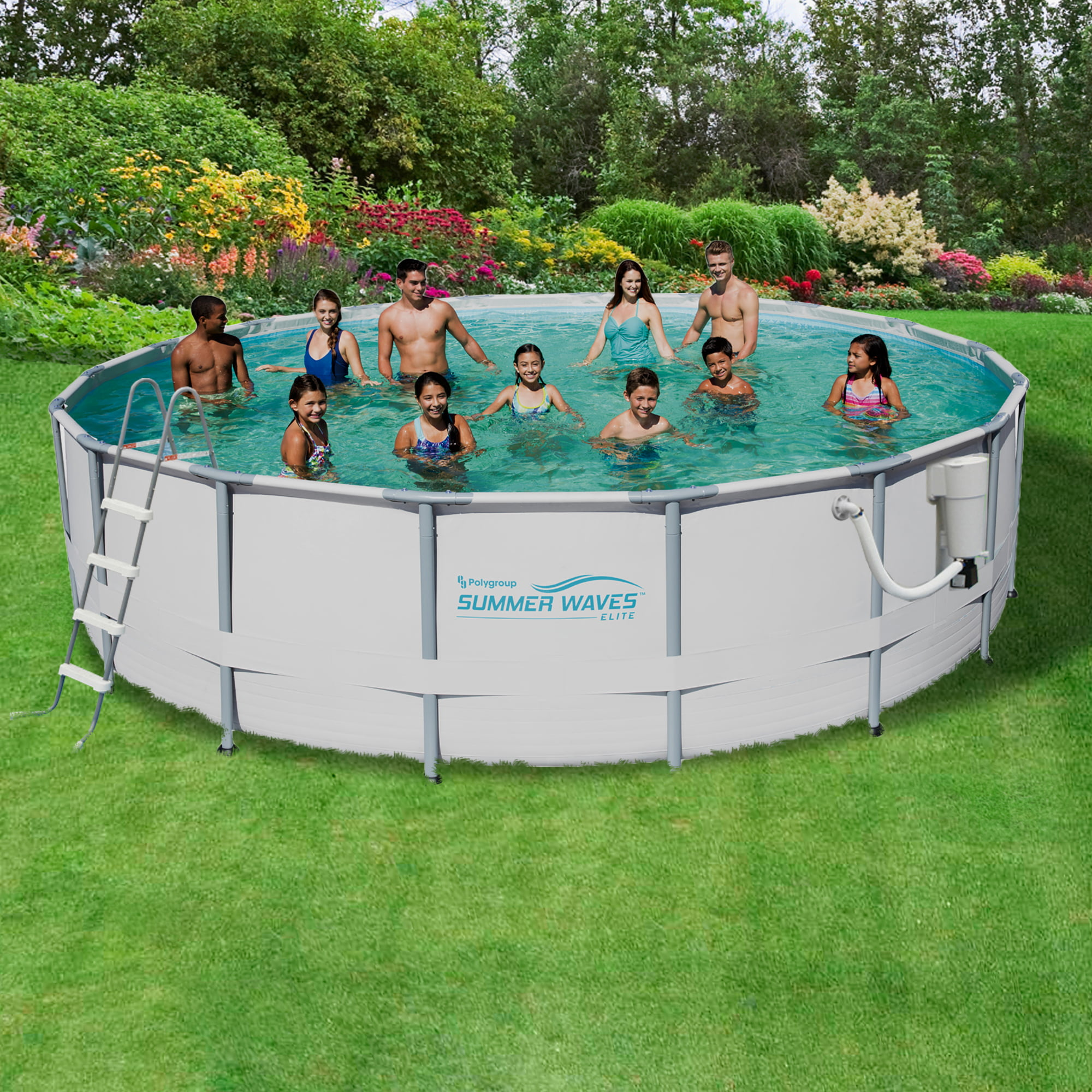 Summer Waves Elite 18-ft Round 52-in Deep Metal Frame Swimming Pool Package by Blue Wave