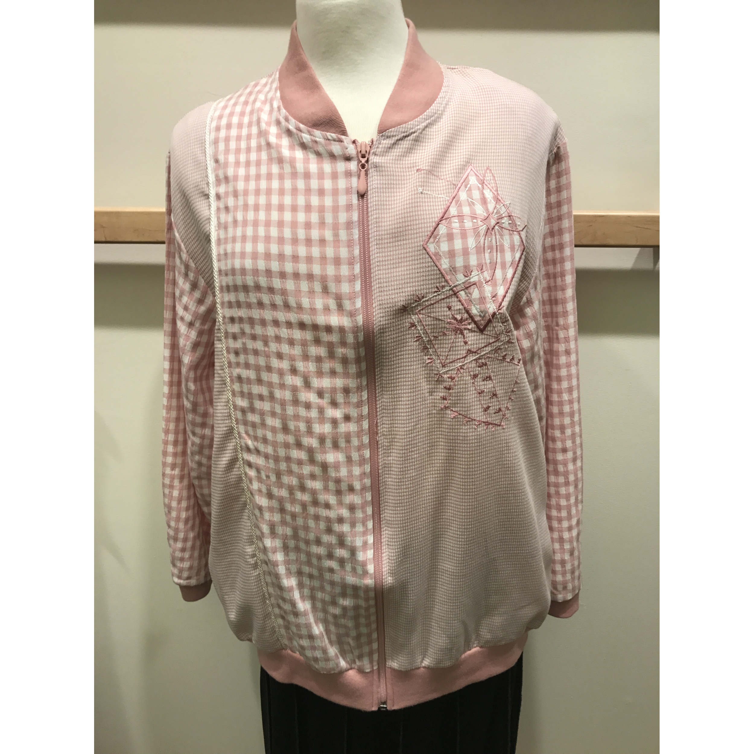 Pink And White Mini Gingham Check Jacket With Embroidery (Style# 1280S6)