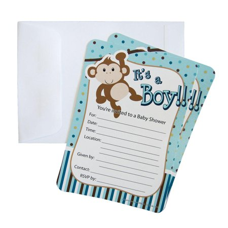 Baby Shower Invitations 12 Piece 7 Inches Monkey Boy Light Blue