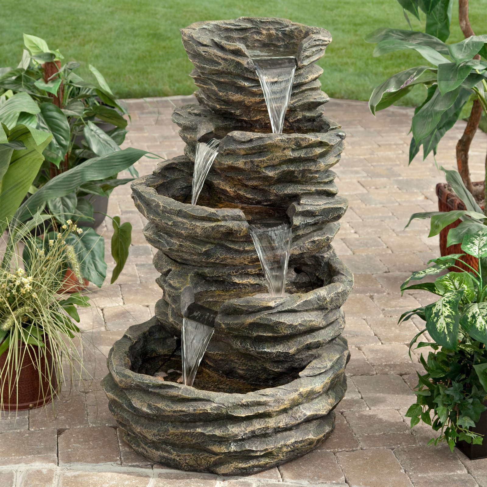 Alpine Five-Level Rock Pond Waterfall Indoor Outdoor Fountain by Woodland Imports