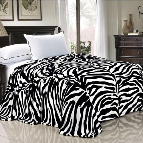 BOON Lightweight Printed Safari Animal Flannel Fleece Blanket Queen - Black White Zebra