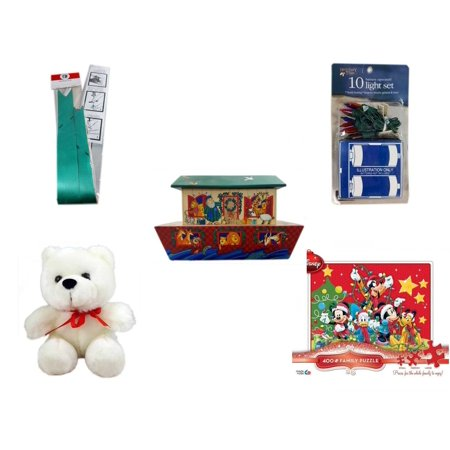 Christmas Fun Gift Bundle [5 Piece] - Myco's Best Pull Bows Set of 10 -  Time Battery Operated 10 Light Set - Noah's Ark Card Storage Display Box Hallmark - Soft & Cuddly White Teddy Bear  6