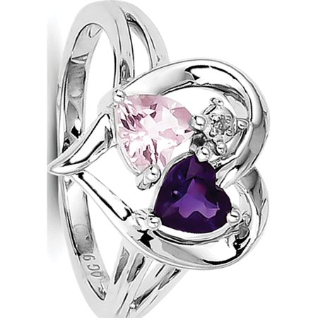 Sterling Silver Rhodium-plated Amethyst & Pink Quartz & Diamond Ring - image 3 of 3