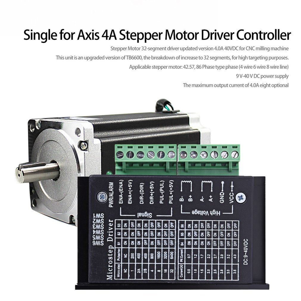 9-40V Micro-Step CNC TB6600 Single For Axis 4A Stepper Motor Driver Controller