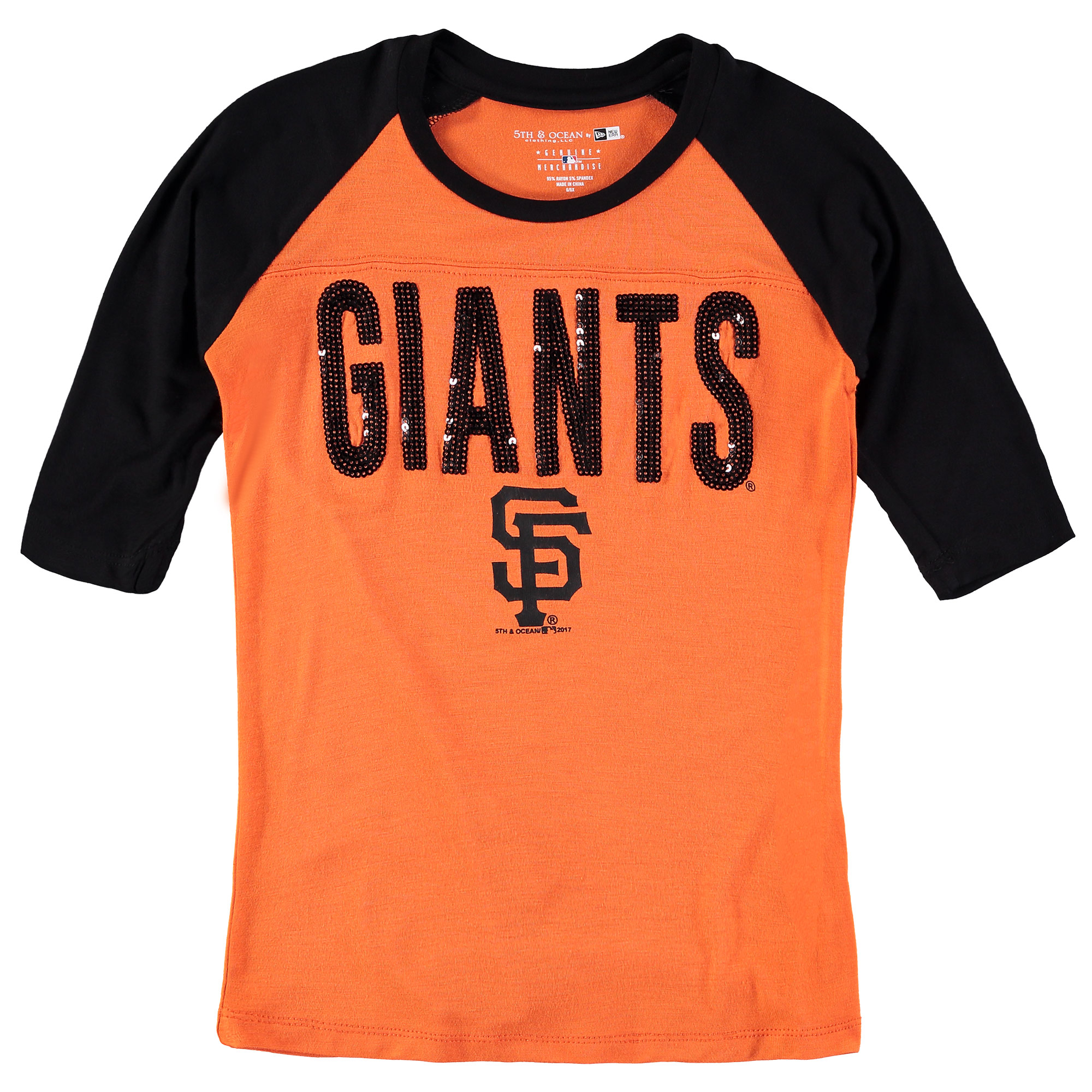 San Francisco Giants New Era Girls Youth Crew Neck Raglan 3/4-Sleeve T-Shirt Orange/Black