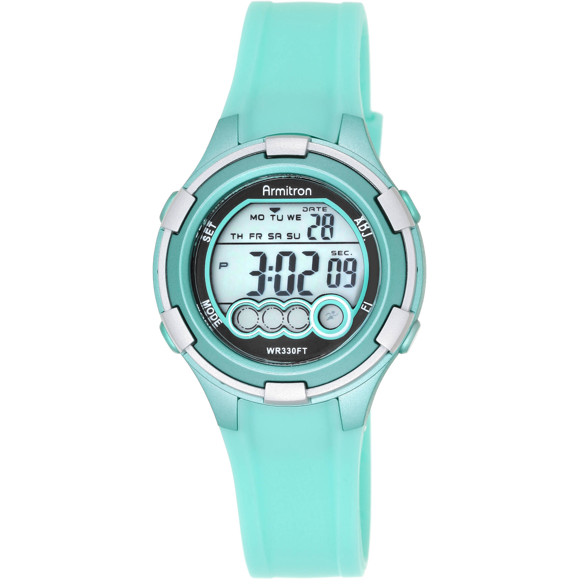 Armitron Women's Round Sport Watch, Light Green