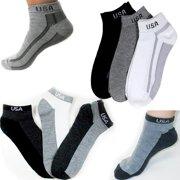 6 Pairs Ankle Quarter Crew Mens Socks Low Cut 10 13 Sport Black Grey Charc New