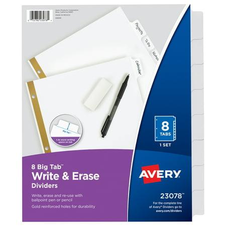 Avery Big Tab Write & Erase Dividers, 8-Tab Set - Tab Chart File Divider