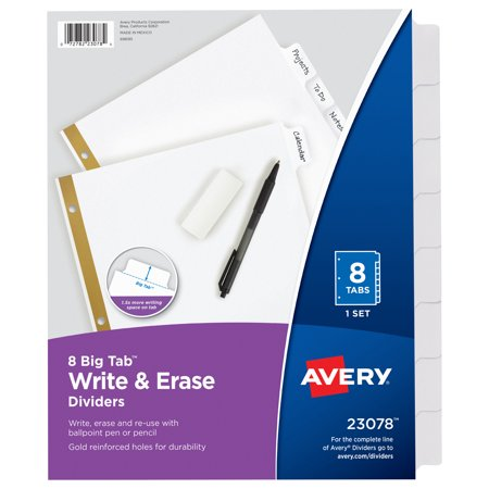 Office Furniture Dividers - Avery Big Tab Write & Erase Dividers, 8-Tab Set (23078)