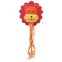 Lion Pinata, Pull String, Orange, 15.5in x 18in