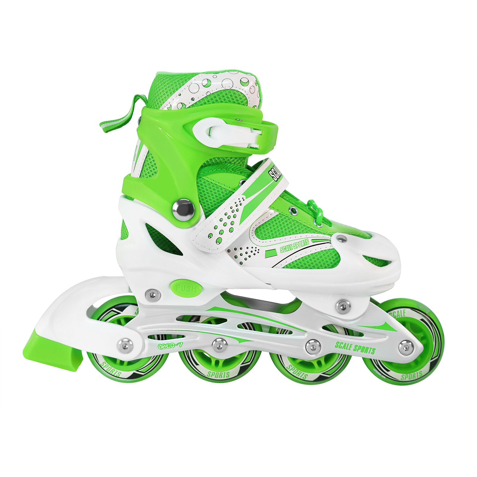 Size 2-4 Adjustable Kids Light Up Inline Skates Green