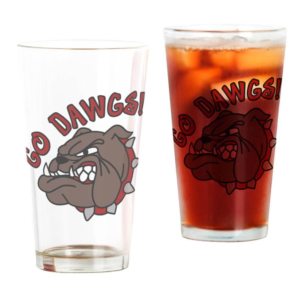 CafePress GO DAWGS! Pint Glass, Drinking Glass, 16 oz. CafePress by