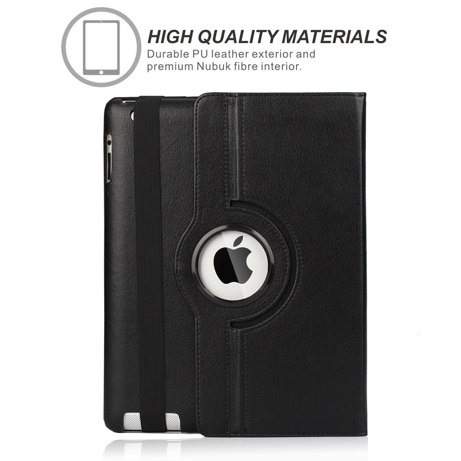 LivEditor Apple iPad 2 3 4 - Black 360 Rotating Stand Leather Case Cover with wake/sleep - image 6 de 7