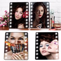 Portable 16 LED Lighted Cosmetic Mirror Vanity Mirror With Stand Adjustable Touch Beauty Tabletop Mirrors For Lady Women Makeup in Bedroom Toilet (without Batteries)