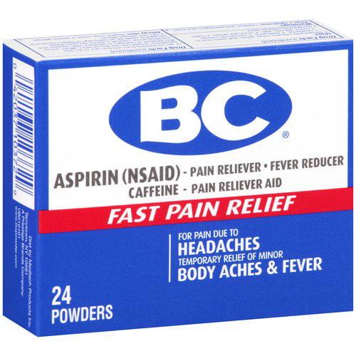 BC Aspirin Pain Reliever Headaches & Body Aches Powders - 24 CT