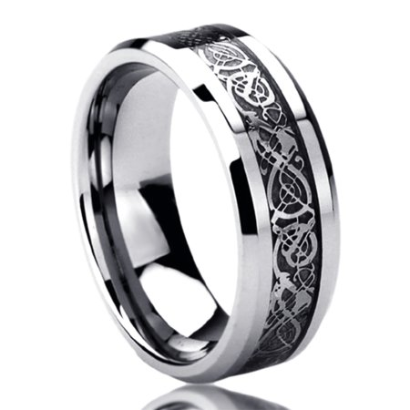 Men Women Stainless Steel 8mm Wedding Band Ring Celtic Dragon Inlayed Ring (6 to 14)