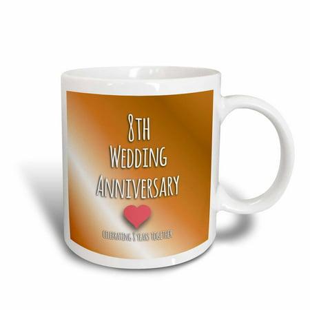 3dRose 8th Wedding Anniversary gift - Bronze celebrating 8 years together eighth anniversaries eight yrs, Ceramic Mug, -