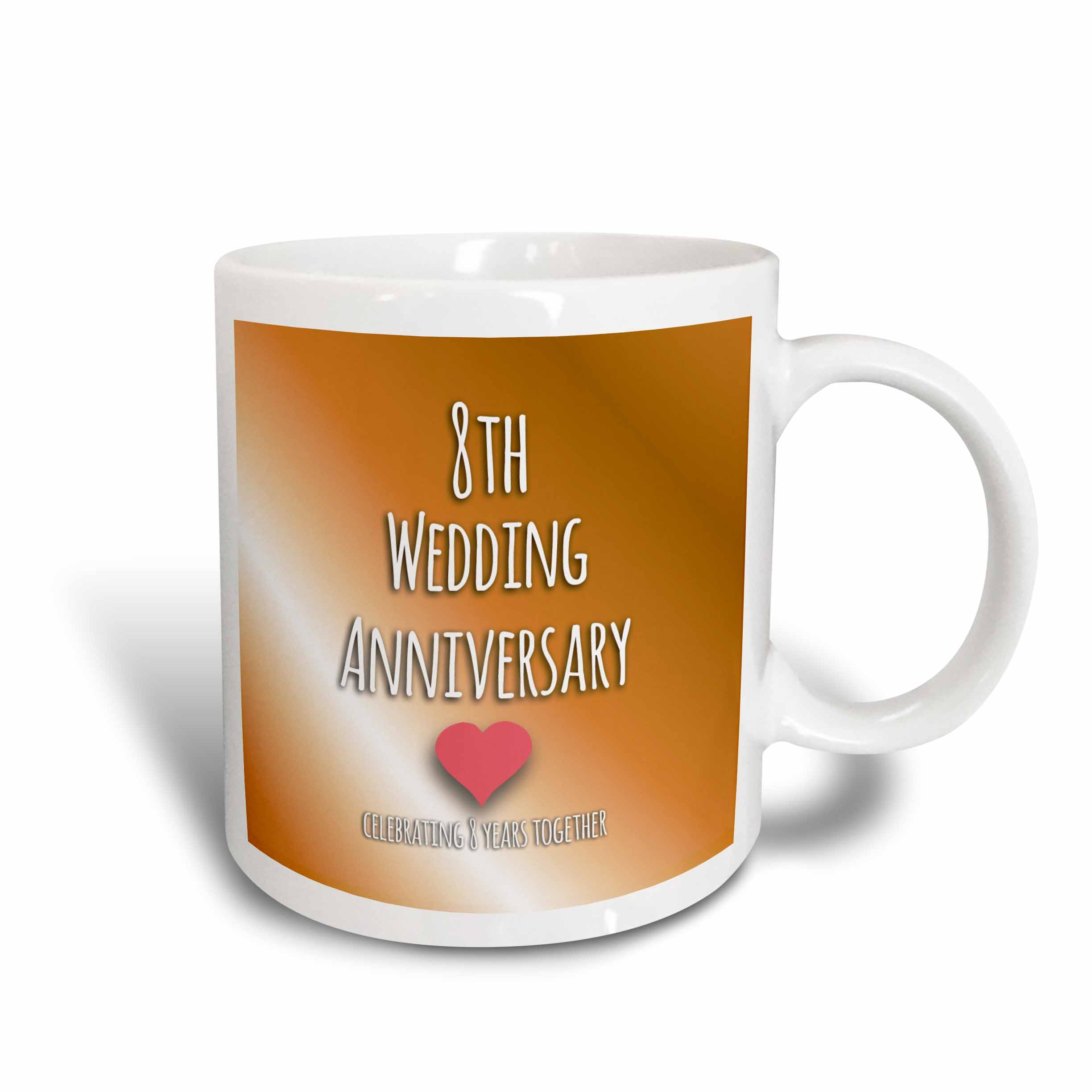 3dRose 8th Wedding Anniversary gift - Bronze celebrating 8 years together eighth anniversaries eight yrs, Ceramic Mug, 11-ounce