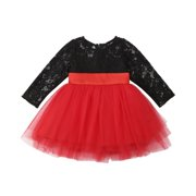 Christmas Princess Kids Baby Girls Lace Floral Dress Tulle Tutu Party Dresses