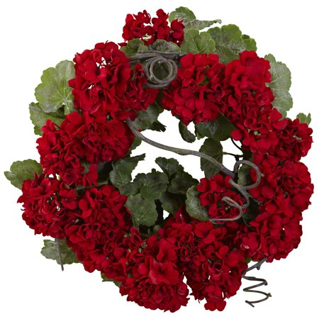 Nearly Natural 20 in. Geranium (Geranium Wreath)