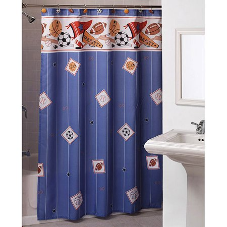 Sport Star Shower Curtains And Hooks Set - Walmart.com