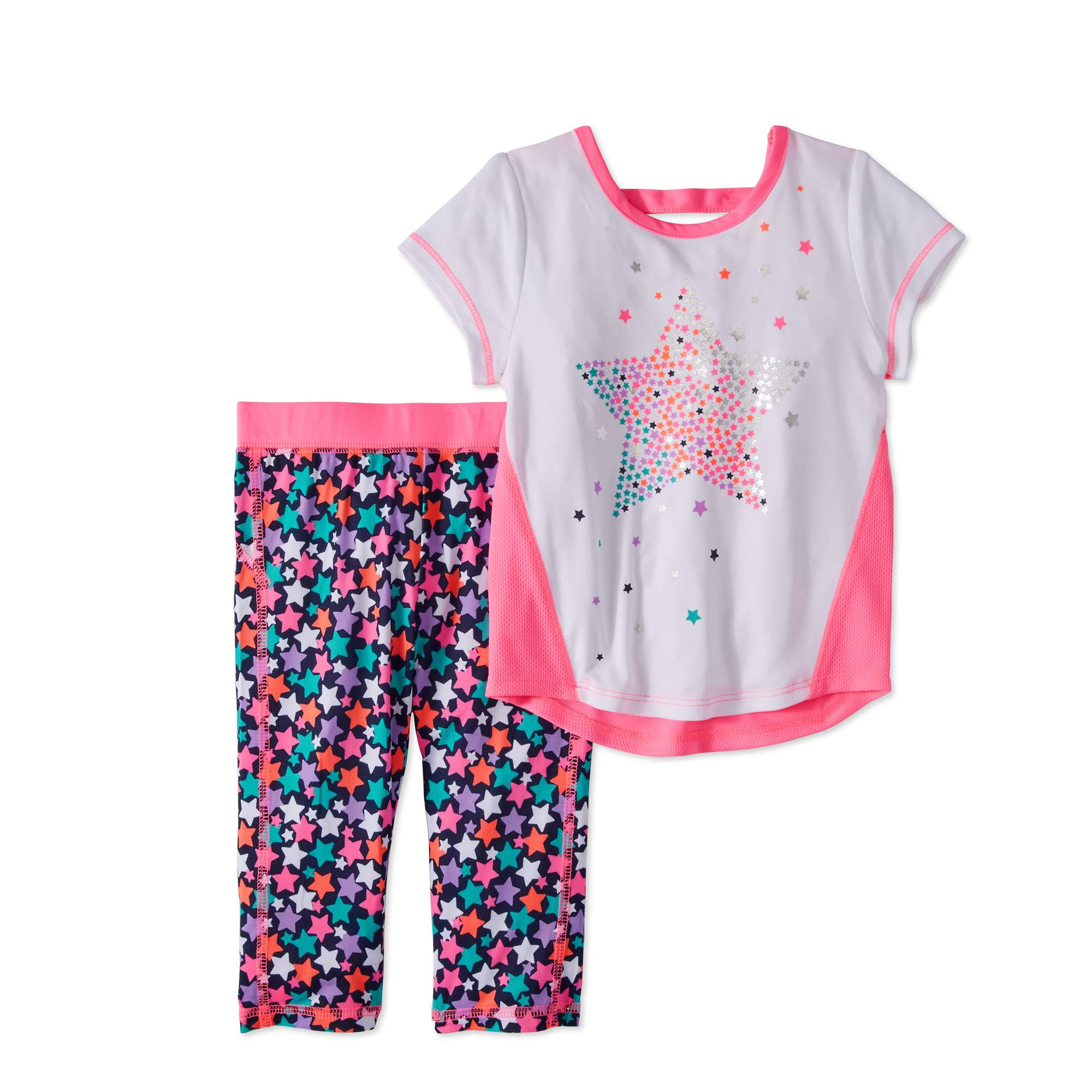 Healthtex Toddler Girl Short Sleeve T-Shirt & Capri Leggings, 2pc Active Outfit Set