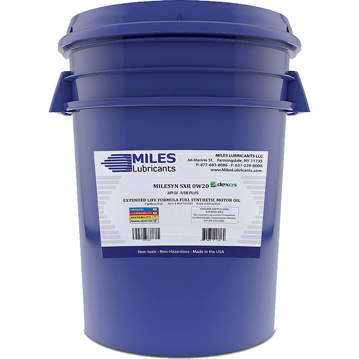 Milesyn SXR 0W20 API GF-5/SN, Dexos1, Full Synthetic Motor Oil, 5-Gallon Pail