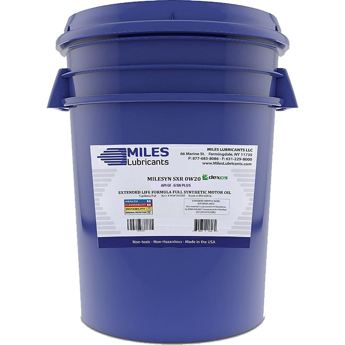 Milesyn SXR 0W20 API GF-5/SN, Dexos1, Full Synthetic Motor Oil, 5-Gallon Pail