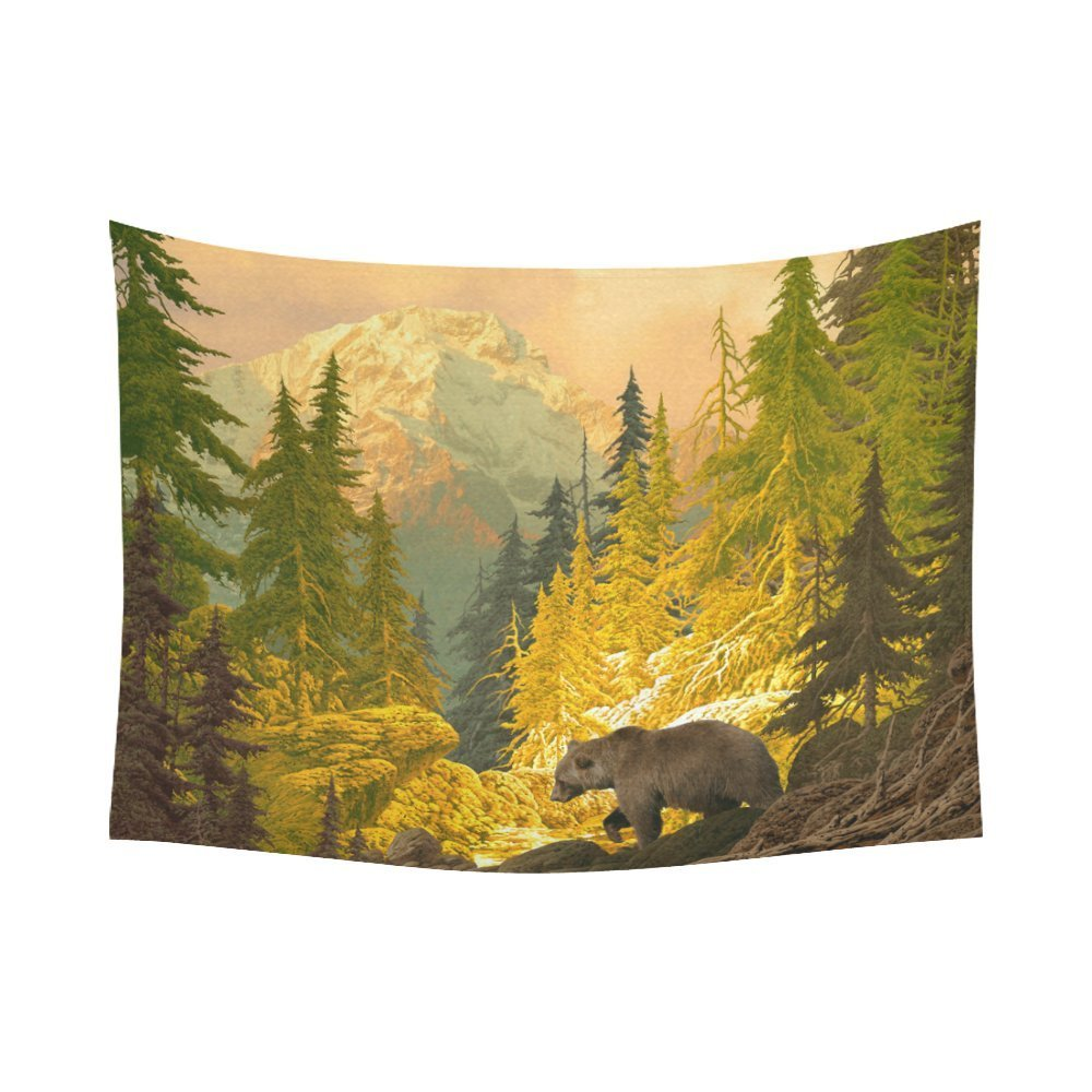 Gckg Grizzly Brown Bear Wild Animal Tapestry Horizontal Wall Hanging Rocky Mountain Forest Tree Sunset Wall Decor Art For Living Room Bedroom Dorm Cotton Linen Decoration 80 X 60 Inches Walmart Com