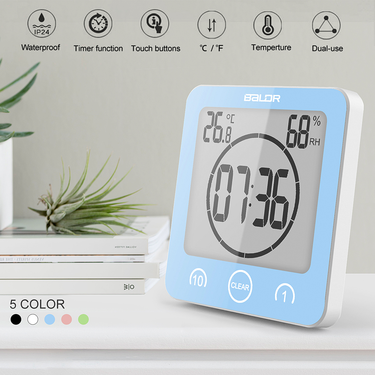Digital Shower Clock Waterproof Shower Clock Suction Cup Countdown Alarm Bathroom Timer Clock,Temperature and Humidity are also displayed