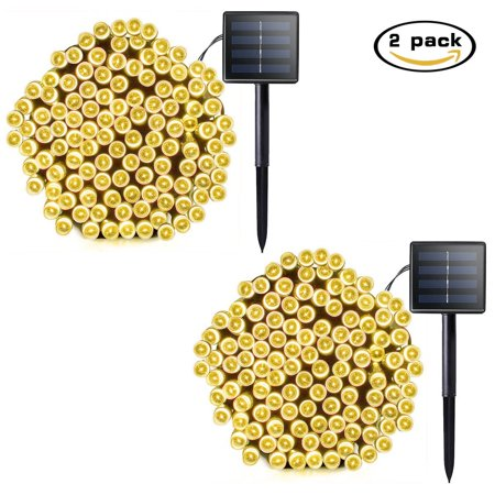 Lalapao 2 Pack Solar String Lights 72ft 22m 200 LED 8 Modes Solar Powered Starry Lighting Waterproof Christmas Fairy String Lights for Outdoor Gardens Path Homes Wedding Party Decor (Warm White) ()
