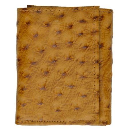 New Genuine Leather Wallet Ostrich Skin Print Trifold wallet 71055 OS Ostrich Leg Skins