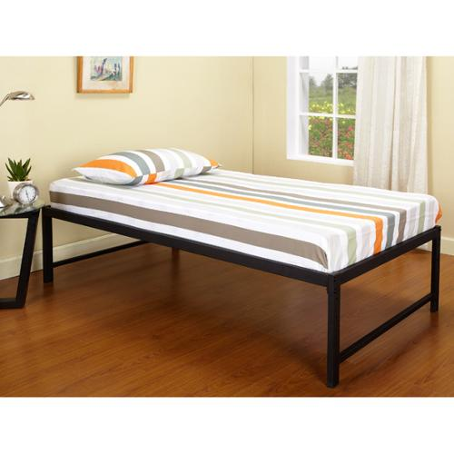 K and B Furniture Co Inc Black Steel Hi-riser Twin Bed with Pop-up Trundle