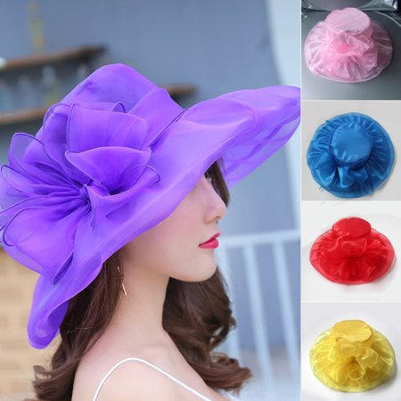 Elegant Lady Organza Wide Brim Sun Hat Women Church Wedding Party Beach Cap Red