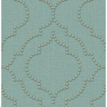 Chesapeake by Brewster 3114-003357 Manhattan Club Chelsea Turquoise Quatrefoil Wallpaper