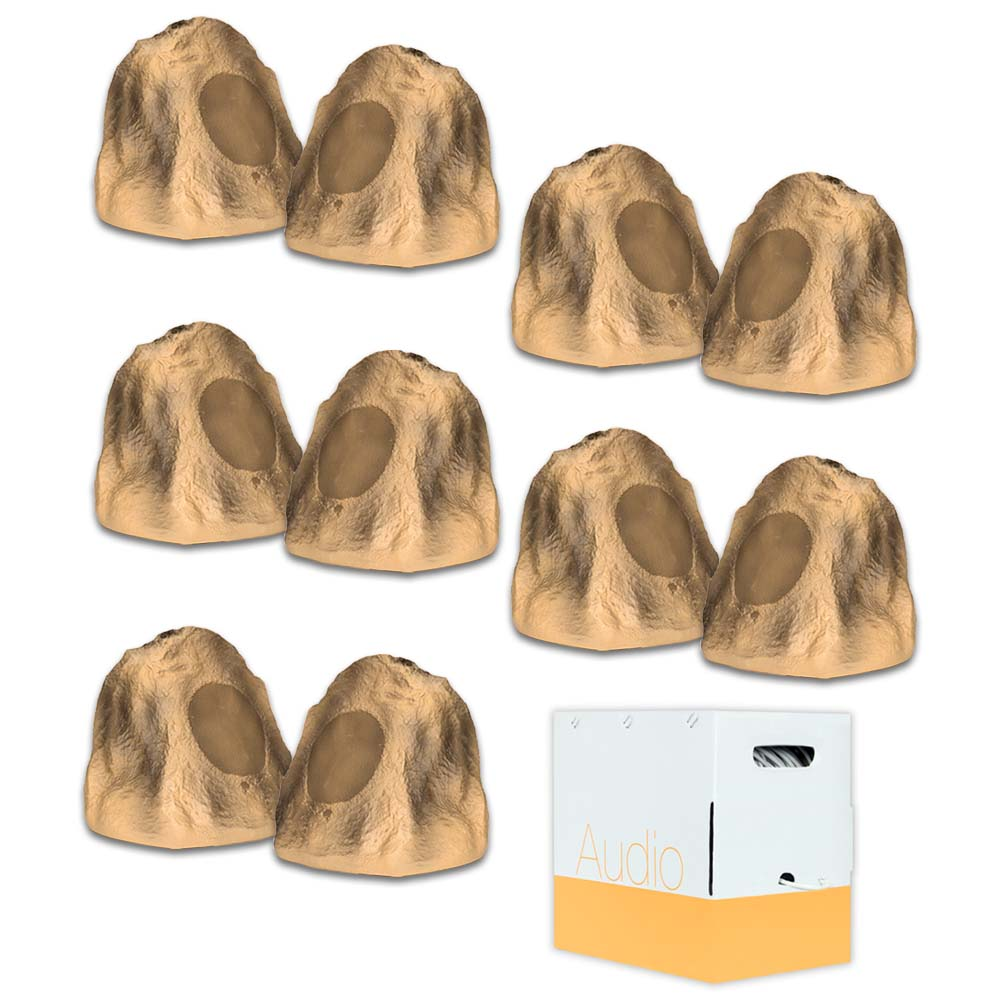 Acoustic Audio B4RS Sandstone Rock Speakers 5 Pair Pack and Wire Outdoor Weatherproof