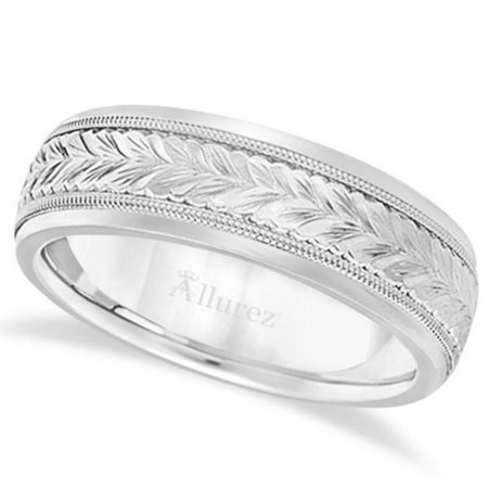 Hand Engraved Wedding Band Carved Ring in Palladium (4.5mm) Palladium Engraved Ring