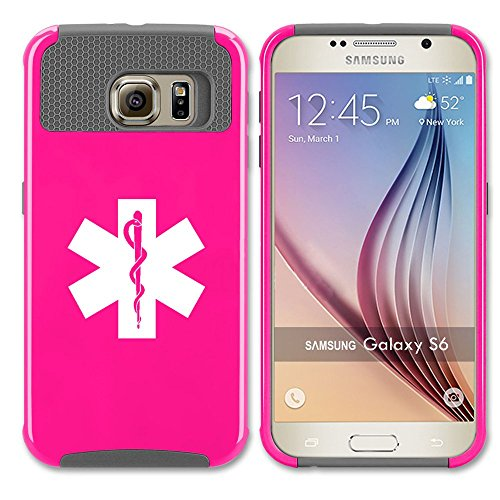 Samsung Galaxy S7 Edge Shockproof Impact Hard Case Cover Star Of Life EMT Paramedic (Hot Pink-Grey ),MIP