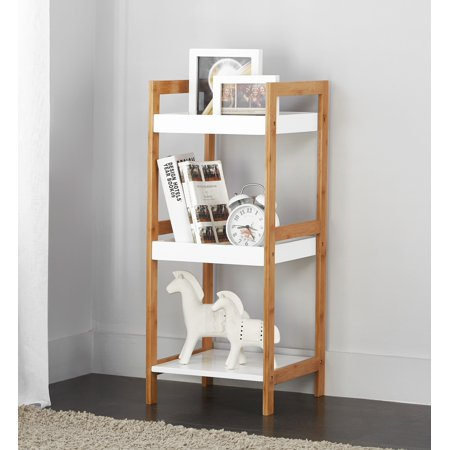 Mainstays Bamboo Collection 3 Tier White Storage Shelf