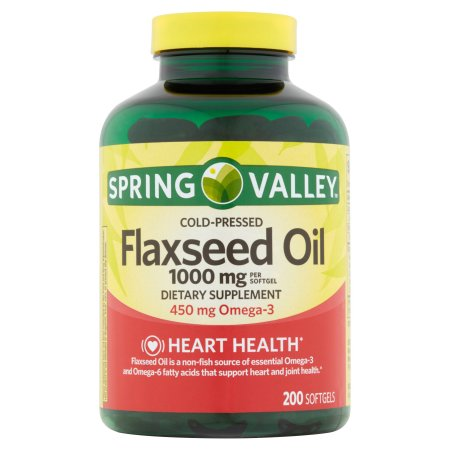 (2 Pack) Spring Valley Cold-Pressed Flaxseed Oil Softgels, 1000mg, 200 Ct