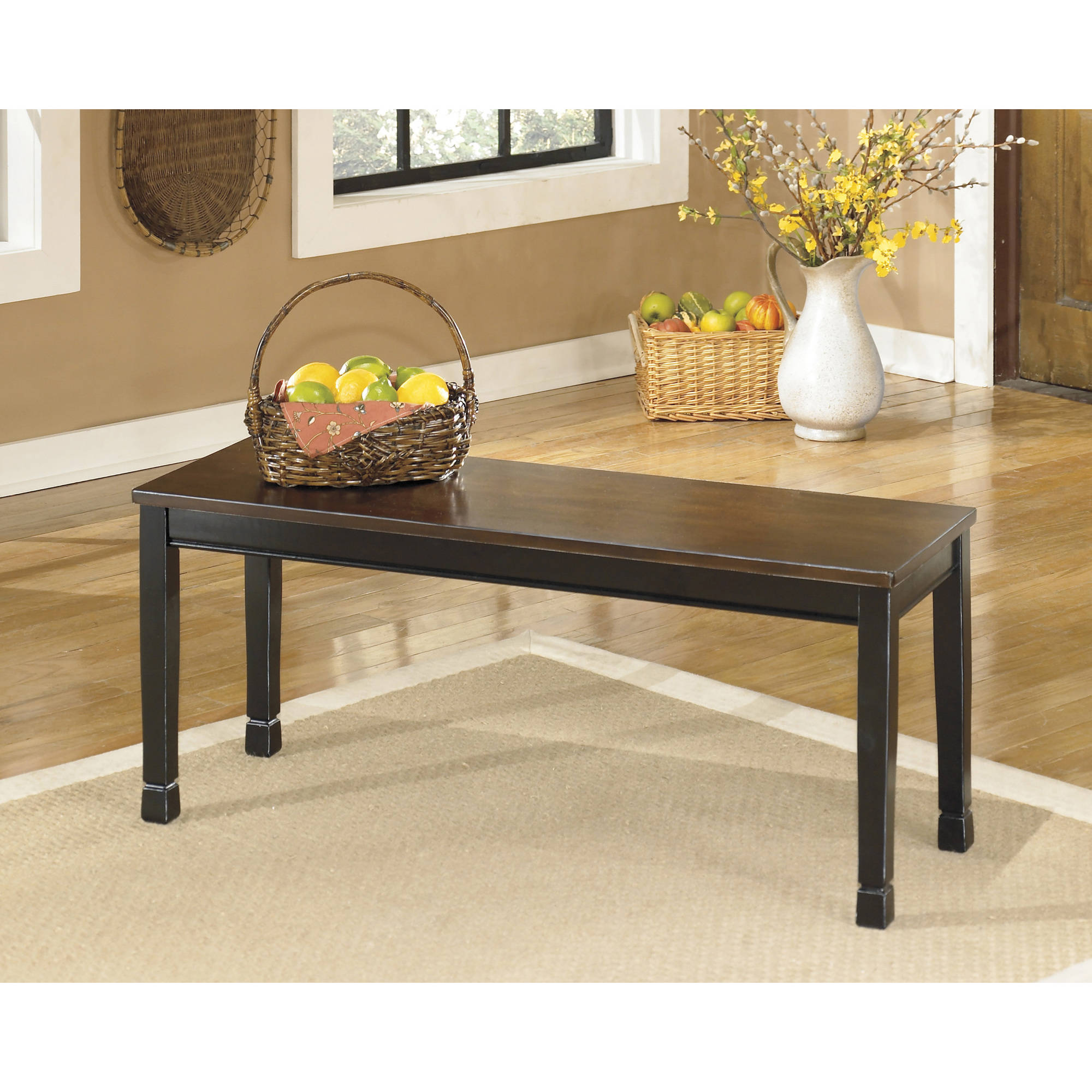 Ashley Owingsville Black and Brown Large Dining Room Bench D580-00 by Ashley Furniture
